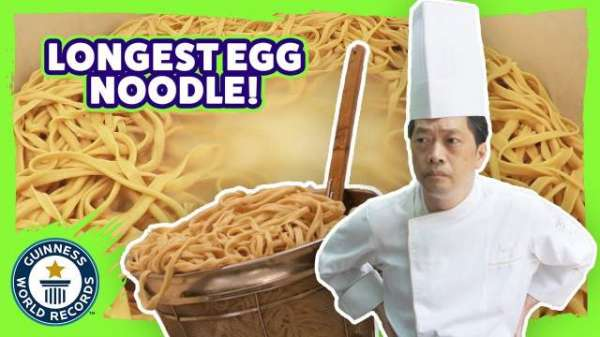 Chef Cooks Up World's Longest Egg Noodle At More Than 602 Feet Long